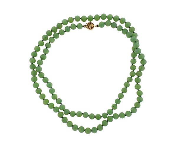 Asian 14k Gold Jade Bead Necklace