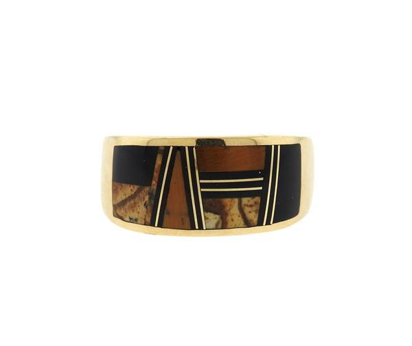 Native American 14k Gold Tiger Eye Onyx Band Ring