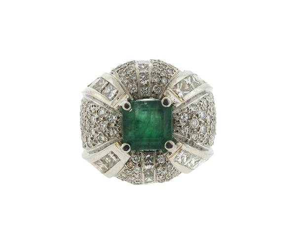 Massive Emerald Diamond Platinum Cocktail Ring