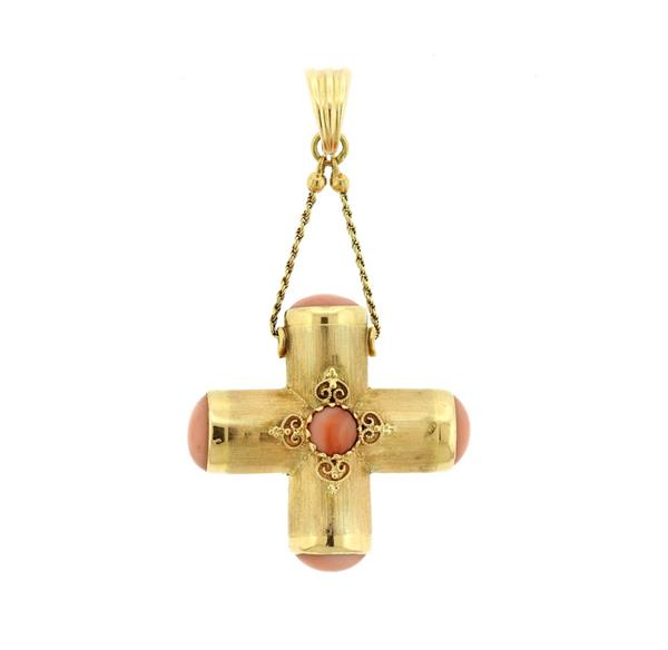 Faro Italian 14K Gold Angel Skin Coral Cross Pendant