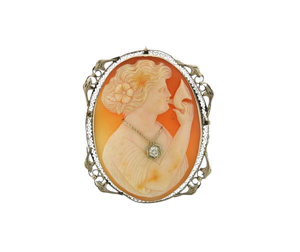 Antique 14k Gold Filigree Shell Cameo Diamond Brooch Pendant