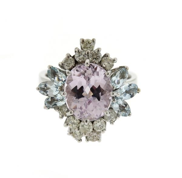 14K Gold Amethyst Aquamarine Diamond Cluster Ring