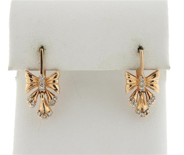 14k Gold Diamond Bow Earrings
