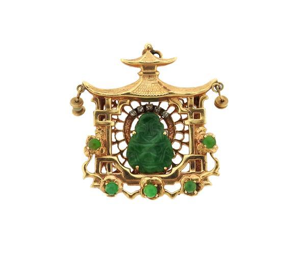 14k Gold Jade Diamond Buddha Pagoda Pendant