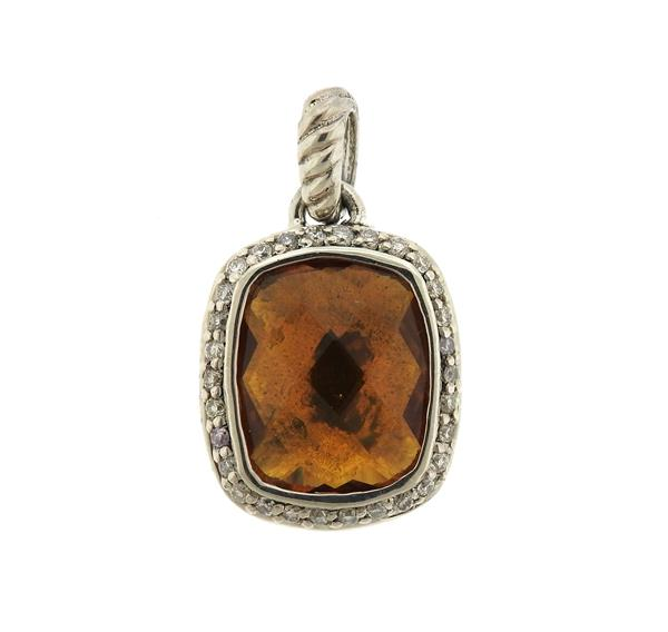 David Yurman Noblesse Sterling Silver Citrine Diamond Pendant