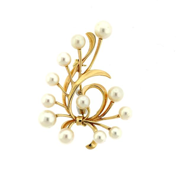 Mikimoto 14k Gold Pearl Brooch Pin