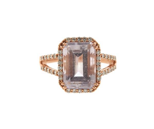 14K Rose Gold Pink Quartz Diamond Ring