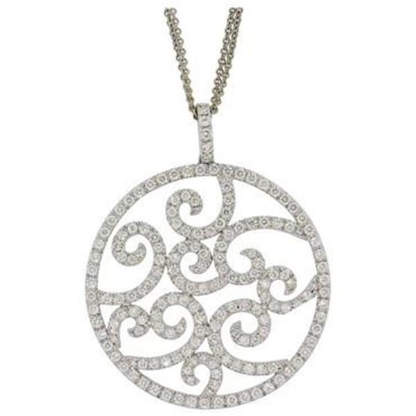 Wempe Large Round 3.16ctw Diamond 18k Gold Pendant Necklace