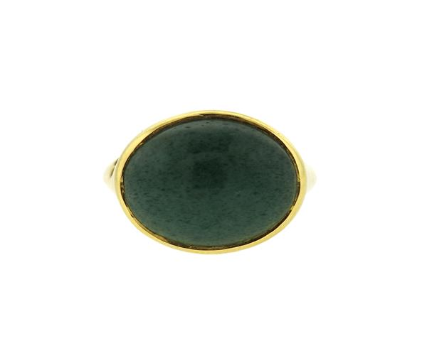 Lauren K 18k Gold Diamond Green Agate Ring