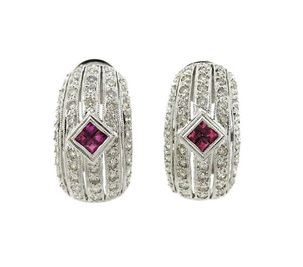 18K Gold Diamond Ruby Half Hoop Earrings