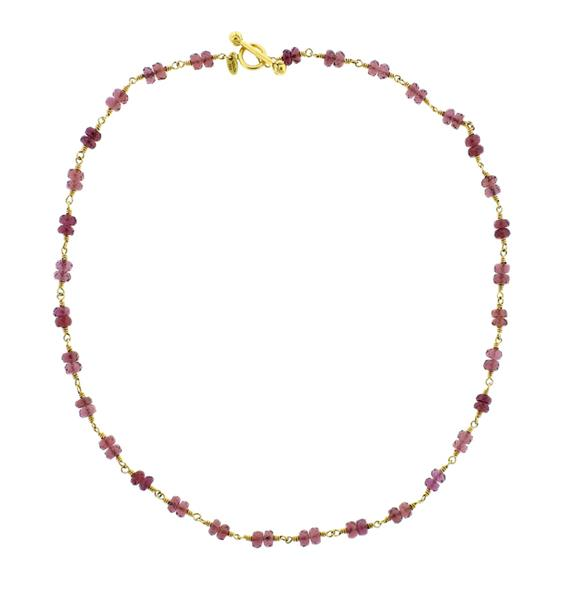 Tiffany & Co 18K Gold Rubellite Bead Toggle Necklace