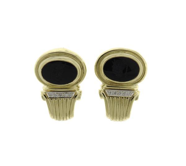 14k Gold Onyx Intaglio Diamond Earrings