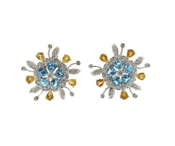 14K Gold Diamond Blue Topaz Citrine Earrings