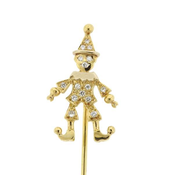 18K Gold Diamond Clown Figure Stick Pin