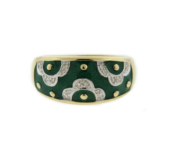 14K Gold Diamond Green Enamel Ring