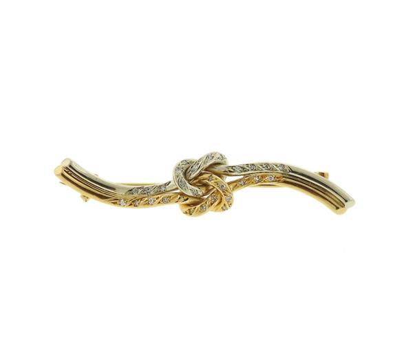 18K Two Tone Gold Diamond Knotted Brooch Pin