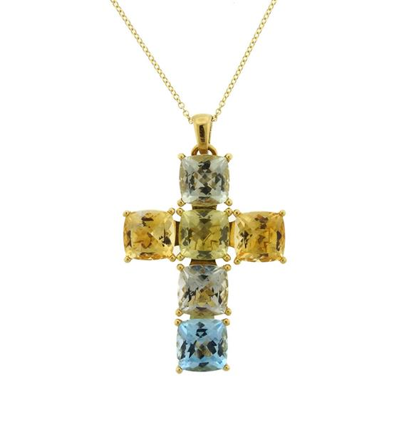 Superoro 18K 14K Gold Multi Gemstone Cross Pendant Necklace