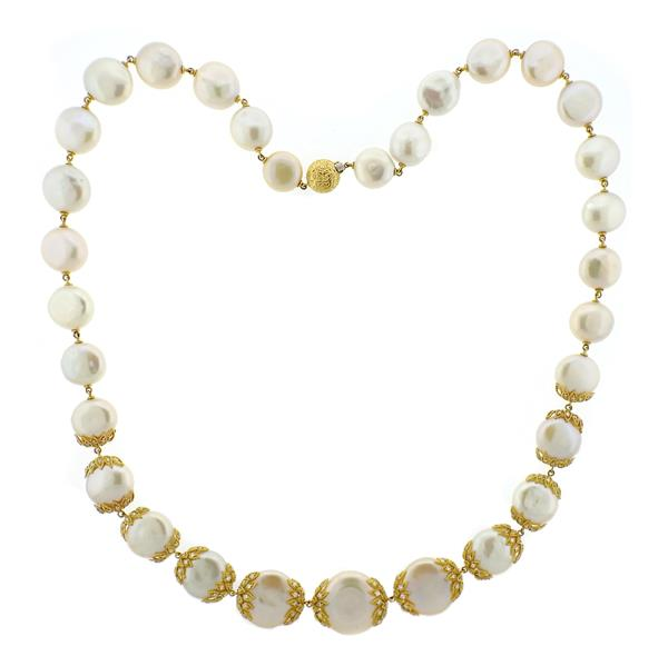 18K Gold Diamond Coin Pearl Necklace