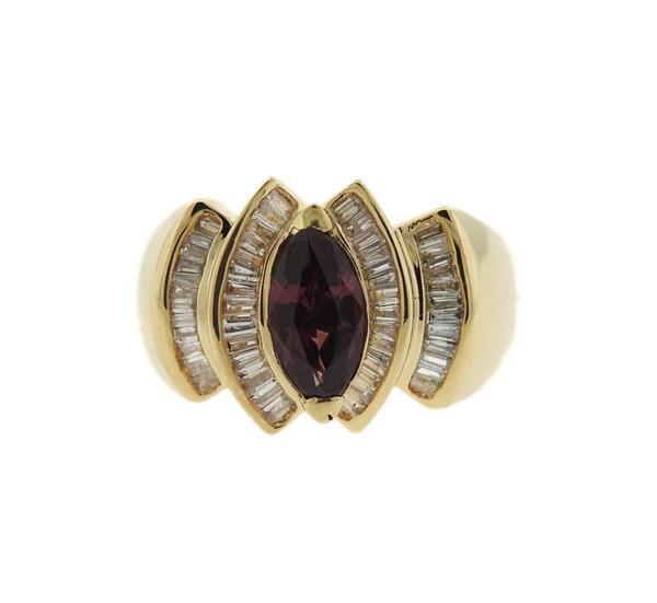 14K Gold Diamond Purple Stone Ring