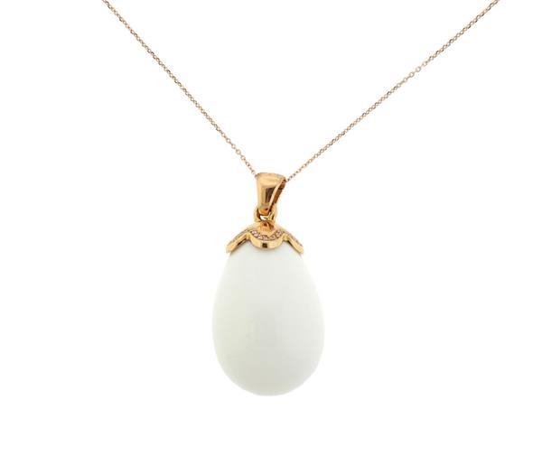 14K 18K Gold Diamond White Agate Egg Pendant Necklace