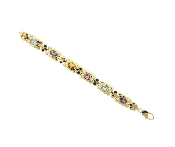 14k Gold Amethyst Citrine Topaz Bracelet