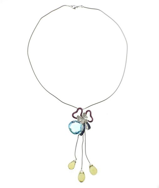 18K Gold Diamond Multi Gemstone Flower Lariat Necklace