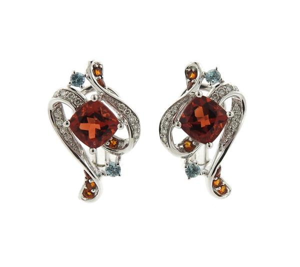 14K Gold Diamond Multi Gemstone Earrings