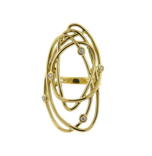 Dana David 18K Gold Diamond Abstract Form Ring