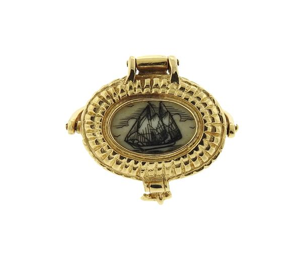 14K Gold Nantucket Scrimshaw Basket Pendant