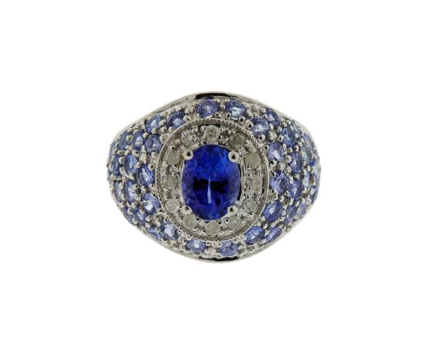 14K Gold Sapphire Tanzanite Dome Cocktail Ring