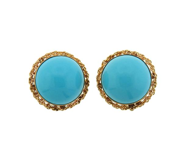 14K Gold Blue Stone Earrings