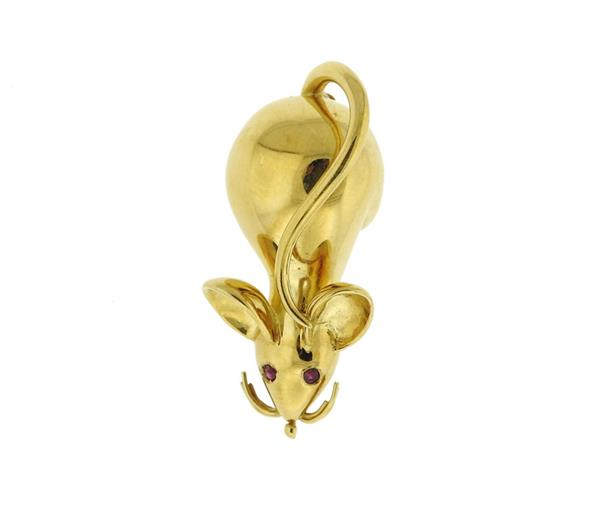 18K Gold Ruby Mouse Brooch Pin