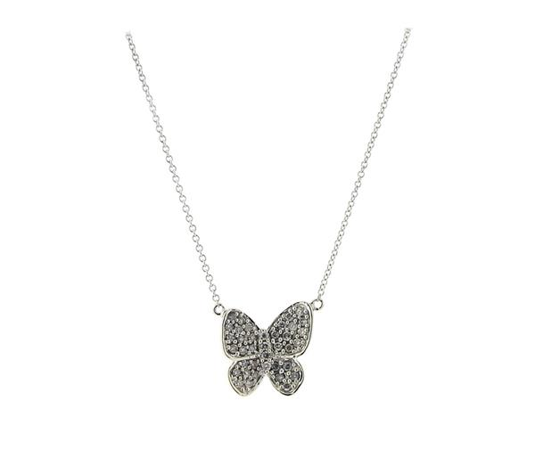 14K Gold Diamond Butterfly Pendant Necklace