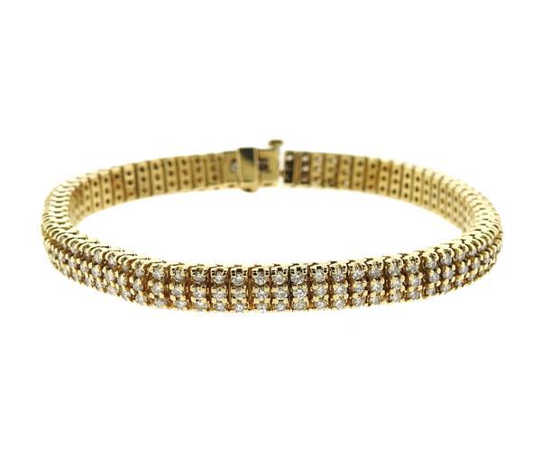 14K Gold Three Row Diamond Tennis Bracelet