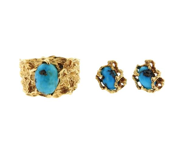 14k Gold Free Form Turquoise Ring Earrings Set