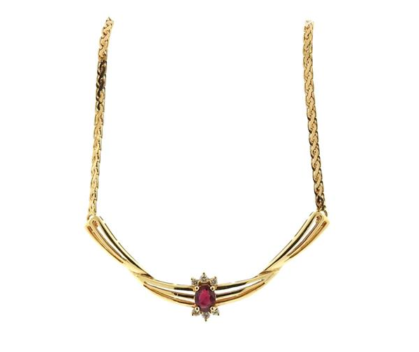 14K Gold Ruby Diamond Necklace