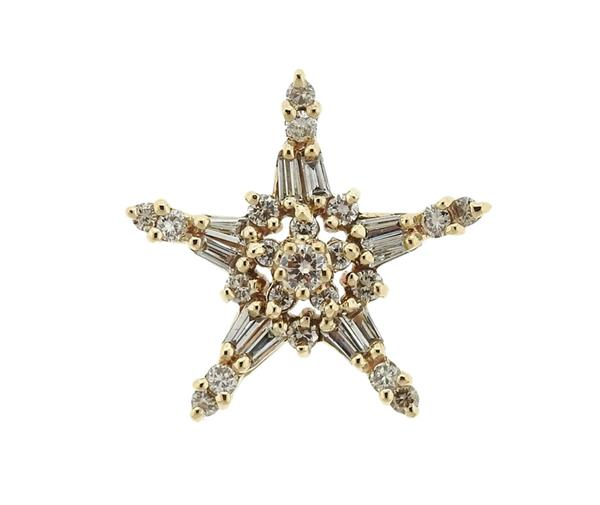 14k Gold Diamond Star Pendant