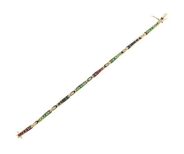14K Gold Ruby Diamond Sapphire Emerald Bracelet