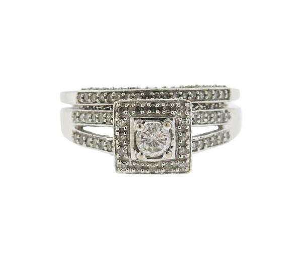 14k Gold Diamond Engagement Ring Wedding Band Set