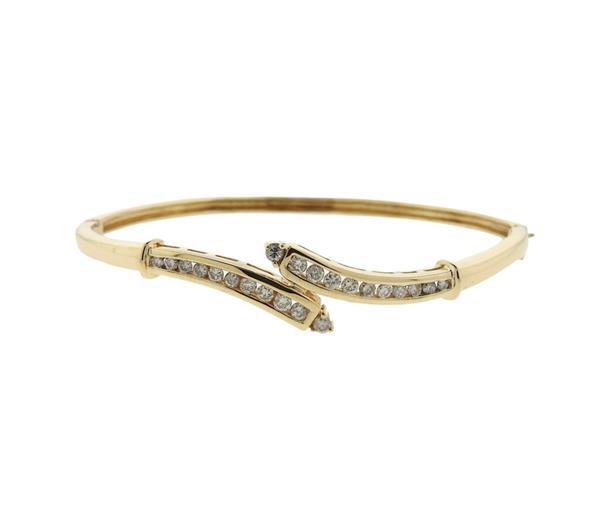 14K Gold Diamond Bypass Bangle Bracelet