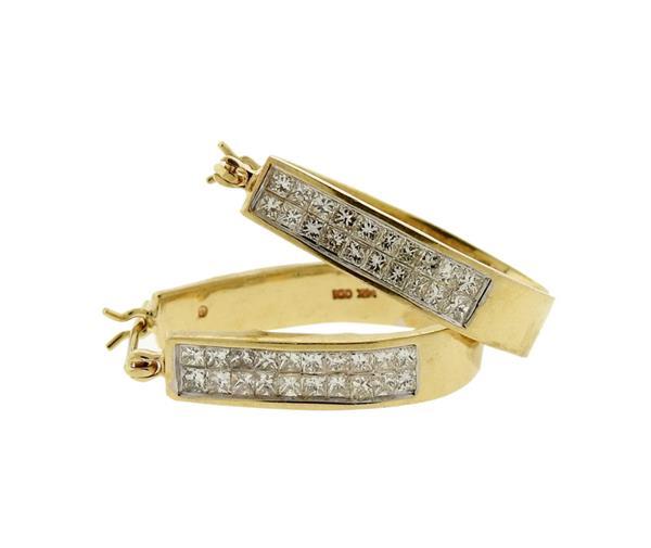 14K Gold Invisible Set Diamond Hoop Earrings