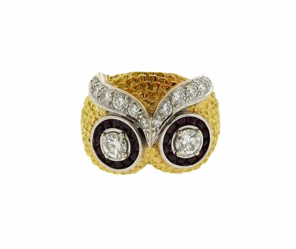 18K Gold Diamond Ruby Owl Ring
