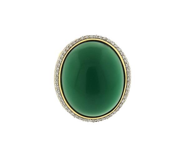David Yurman 18k Gold Chalcedony Diamond Albion Ring