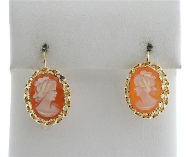 14k Gold Shell Cameo Earrings