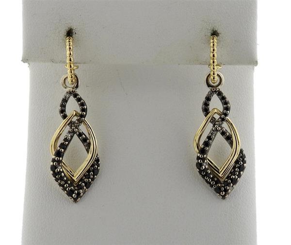 Lagos 18K Gold Sterling Silver Black Diamond Drop Earrings