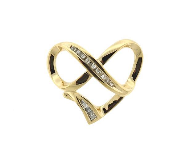 14k Gold Diamond Infinity Heart Slide Pendant