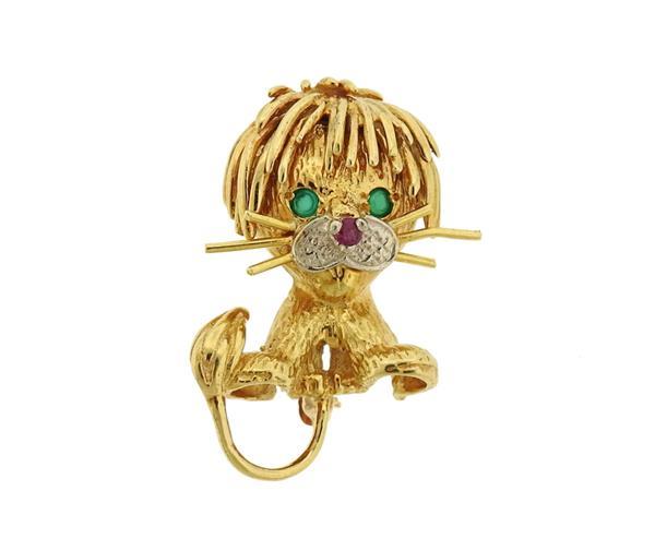 18k Gold Emerald Ruby Diamond Lion Brooch Pin