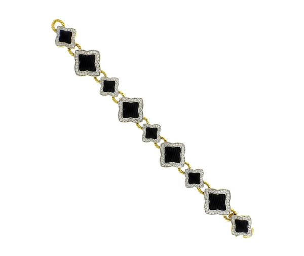 David Yurman 18K Gold Carved Onyx Diamond Quatrefoil Bracelet