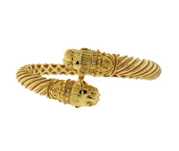18K Gold Diamond Ruby Chimera Bypass Bangle Bracelet