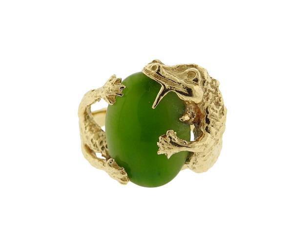 10K Gold Jade Alligator Ring